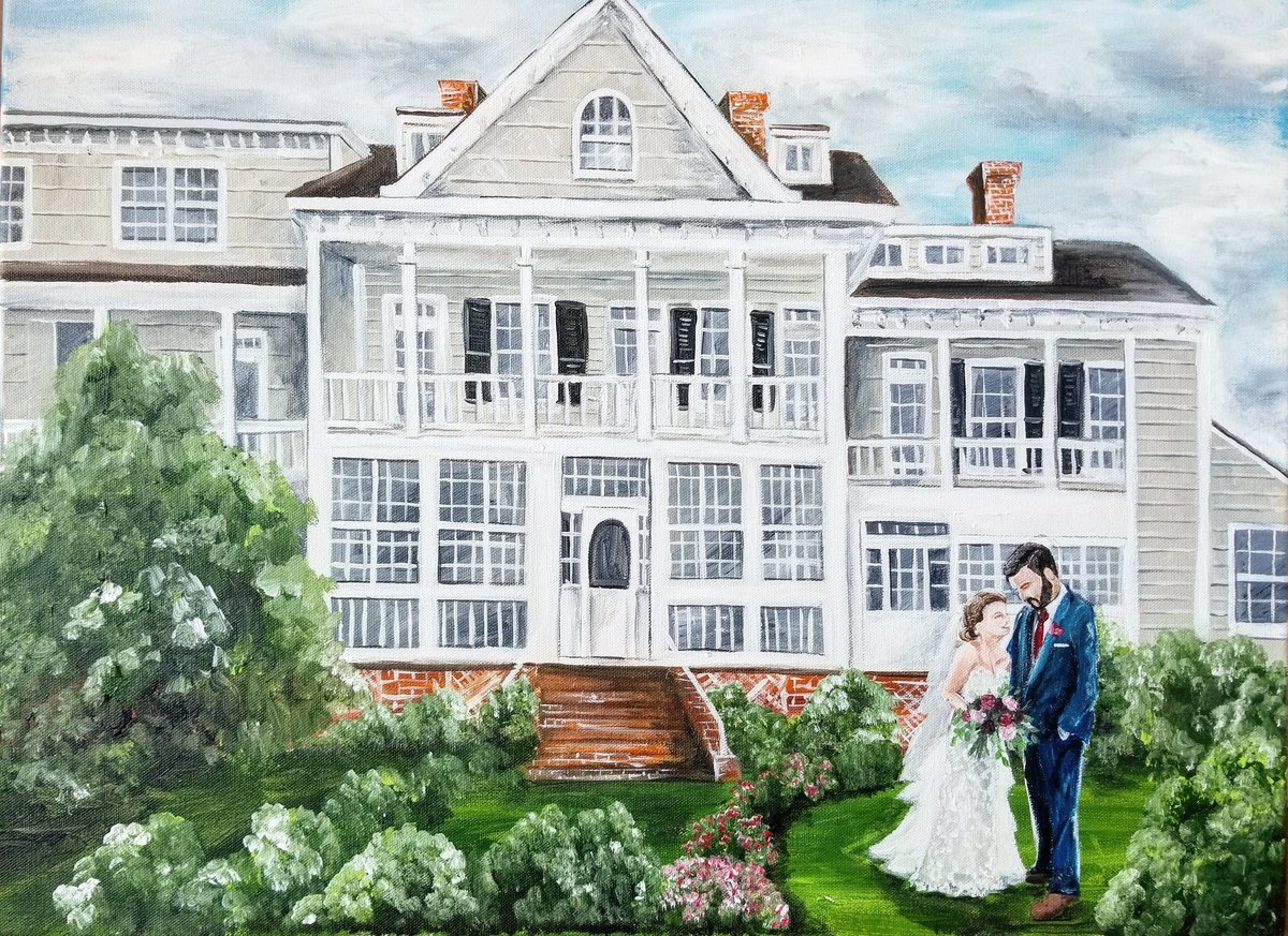 Live painting of a bride and groom standing outside their Kent Manor Inn wedding venue in Stevensville Maryland