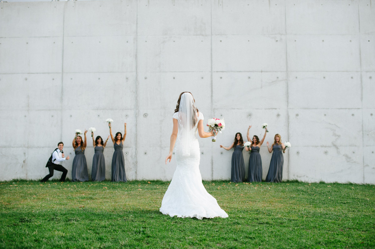 Grey bridesmaid dresses at a Liberty House wedding in Liberty State Park