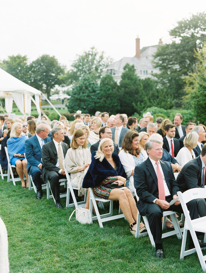 guests at wedding ceremony at castle hill inn, newport in rhode island