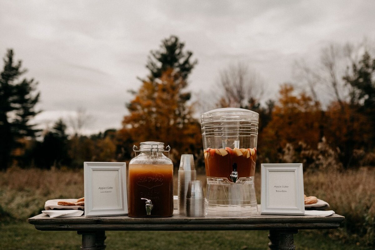 Welcome Beverage Station Fall Wedding Hayfield Catskills Wedding Barn Wedding Catskills Wedding Planner Canvas Weddings