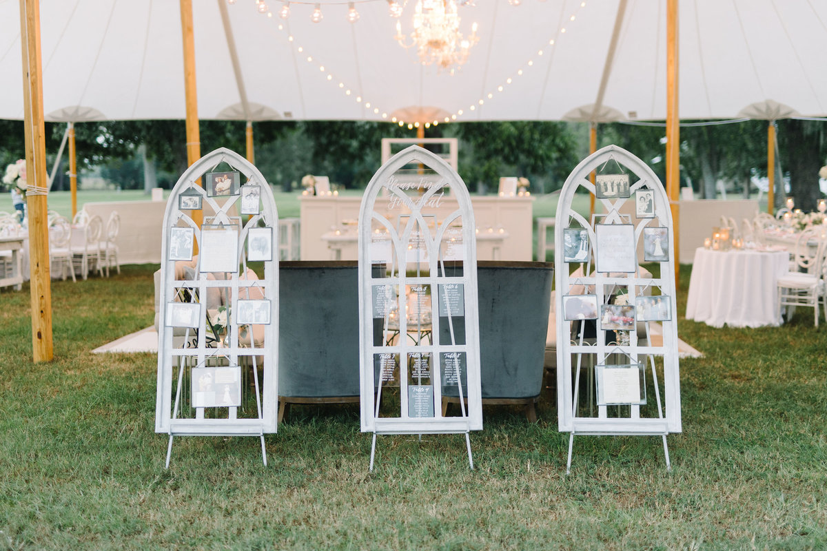 Church Window Escort Seating Chart Display at Tented Boone Hall Wedding