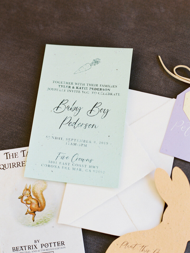 pirouettepaper.com _ Wedding Stationery, Signage and Invitations _ Pirouette Paper Company _ Beatrix Potter Peter Rabbit Baby Shower _ Mallory Dawn Photography  (4)