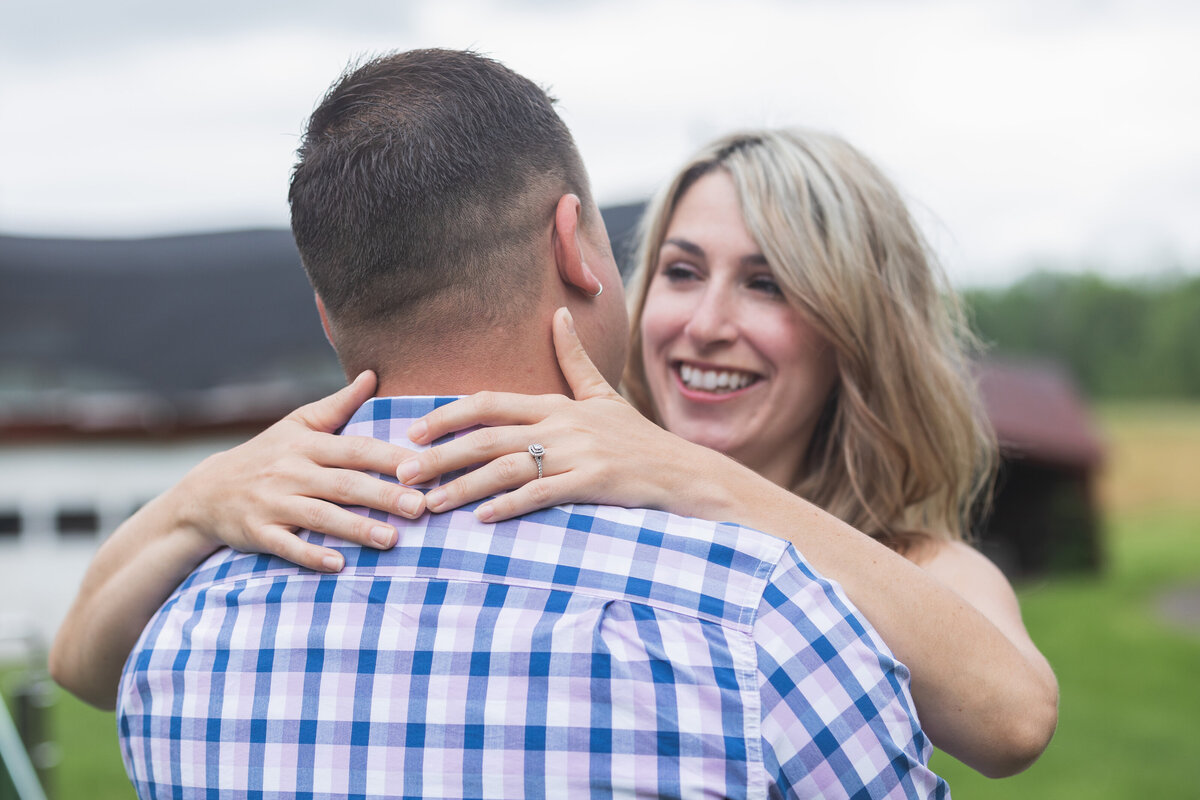 engaged couple smiling farmhouse new jersey