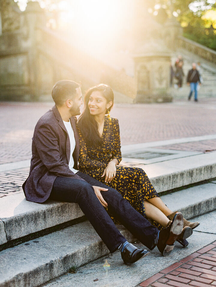 bethesda terrace engagement photos in central park