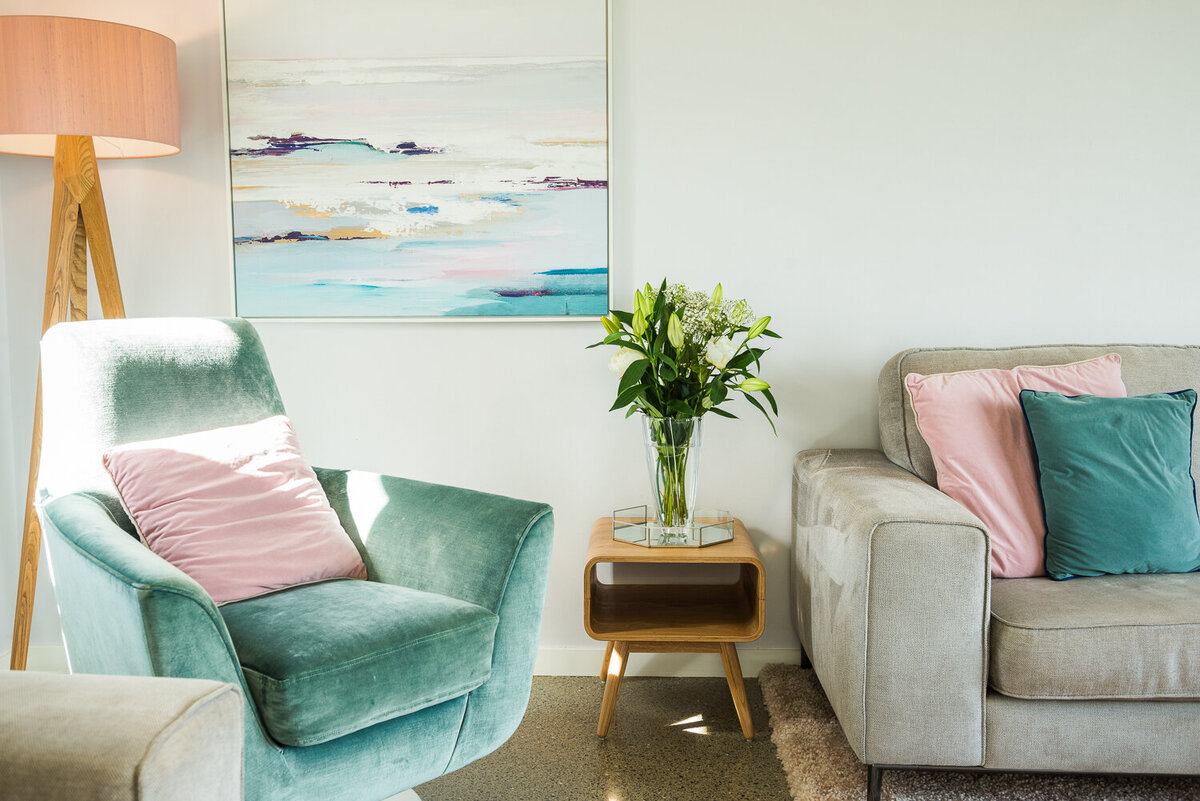 Light blue and pink living room colour scheme