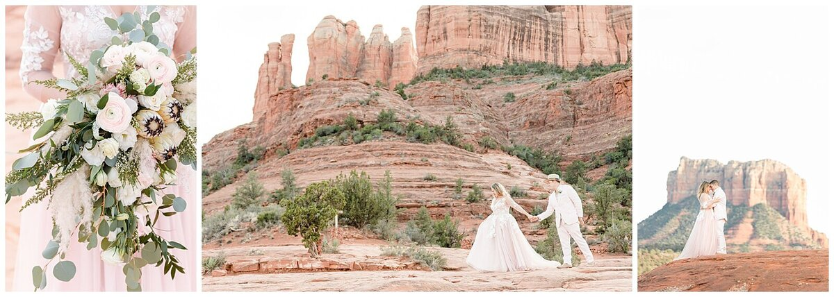 Three picture collage showing a couple eloping in Sedona