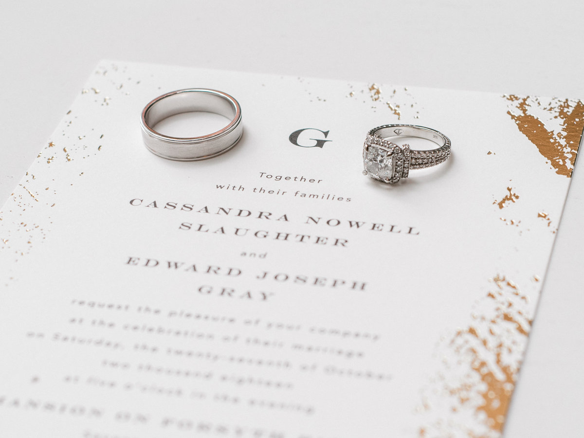 Wedding rings and invitation Sincerely Yours Events