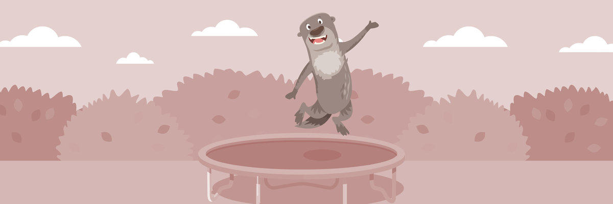 otter jumping on trampoline