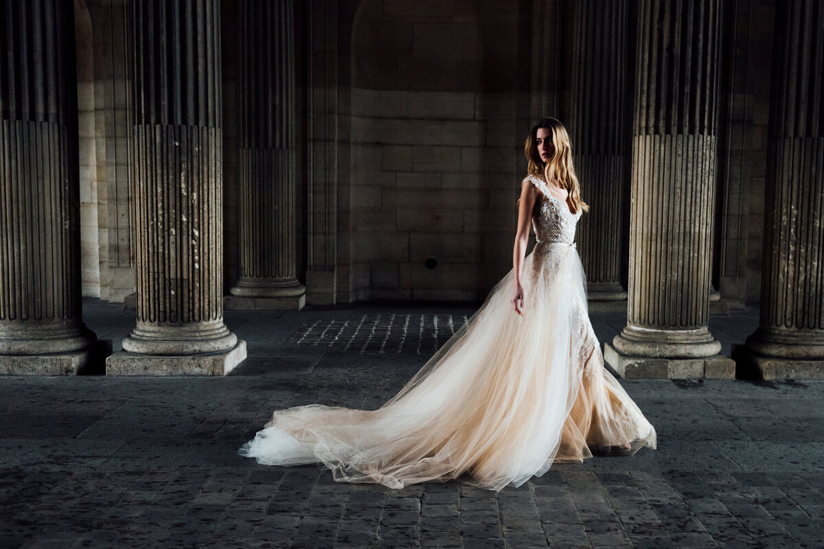 Katie Mitchell, Monique Lhuillier Bridal Paris France Wedding Trine Juel Hair and makeup 11