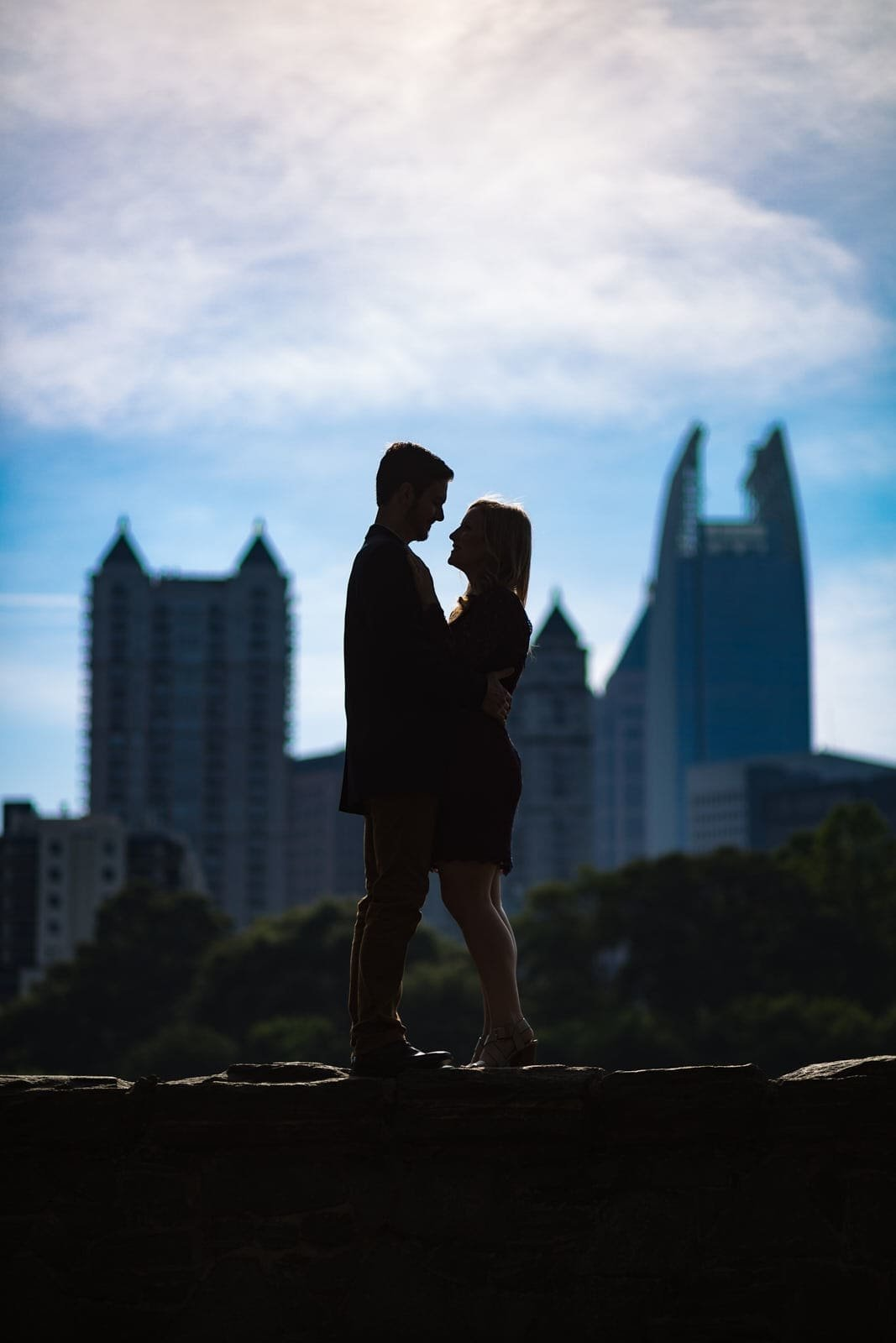 Atlanta piedmont park skyline engagement