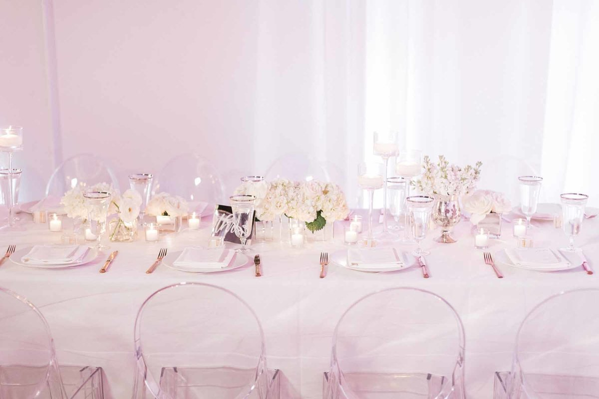 Such a simple white wedding reception that has so much WOW!
