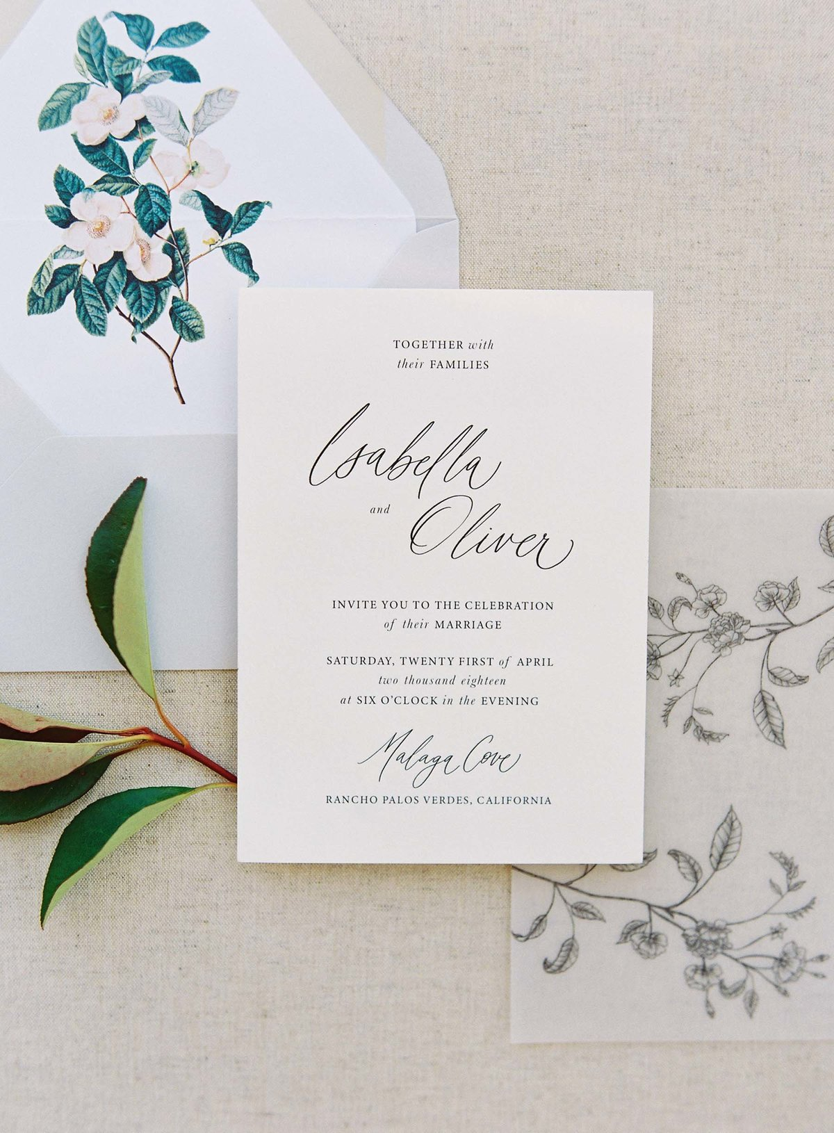 Plume & Fete collections romantic garden wedding invitation suite invite card