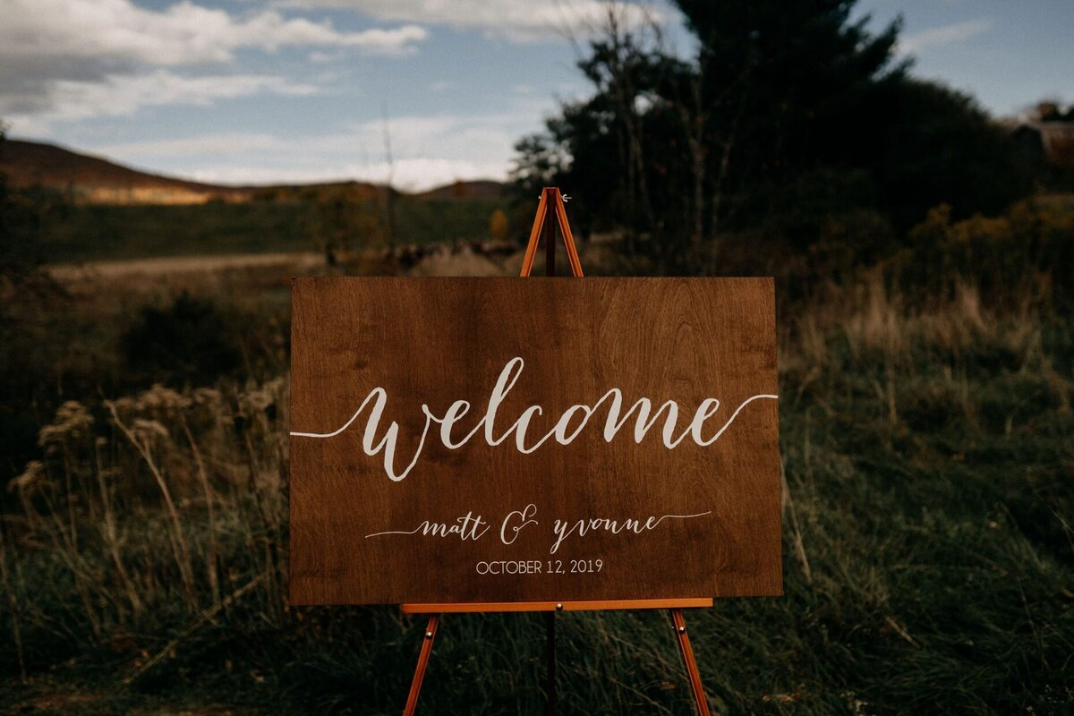 Wood Welcome Sign Wedding Fall Wedding Hayfield Catskills Wedding Barn Wedding Catskills Wedding Planner Canvas Weddings