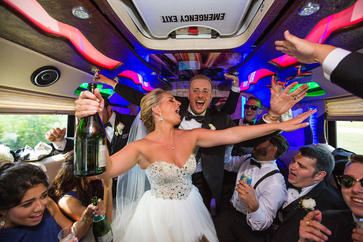crazy bridal party in party bus
