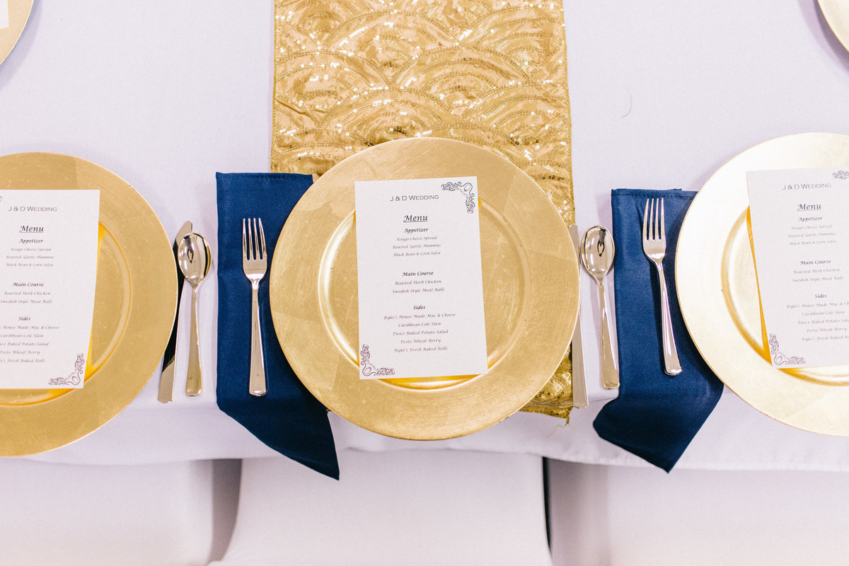 Wedding reception table at Cornerstone Tabernacle by Grand Rapids Wedding photographer Sidney Baker-Green