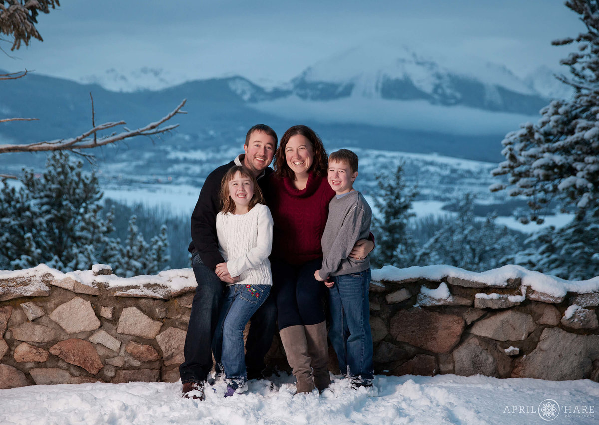 Winter Family Photography at Sapphire Point in Summit County Colorado