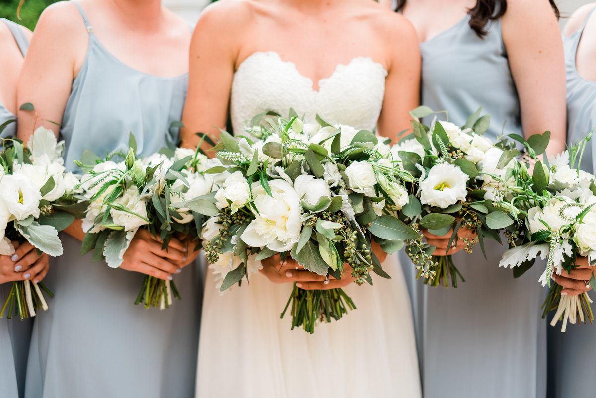 white florals and greenery photo