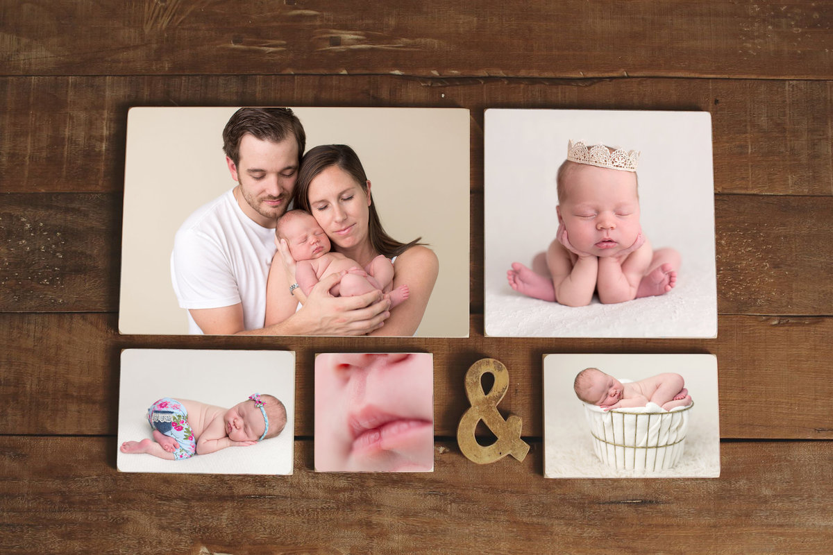 five newborn photos displayed on wall