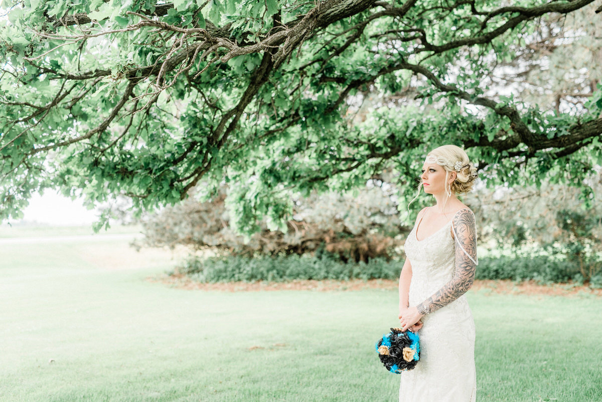 vintage bride under oak tree