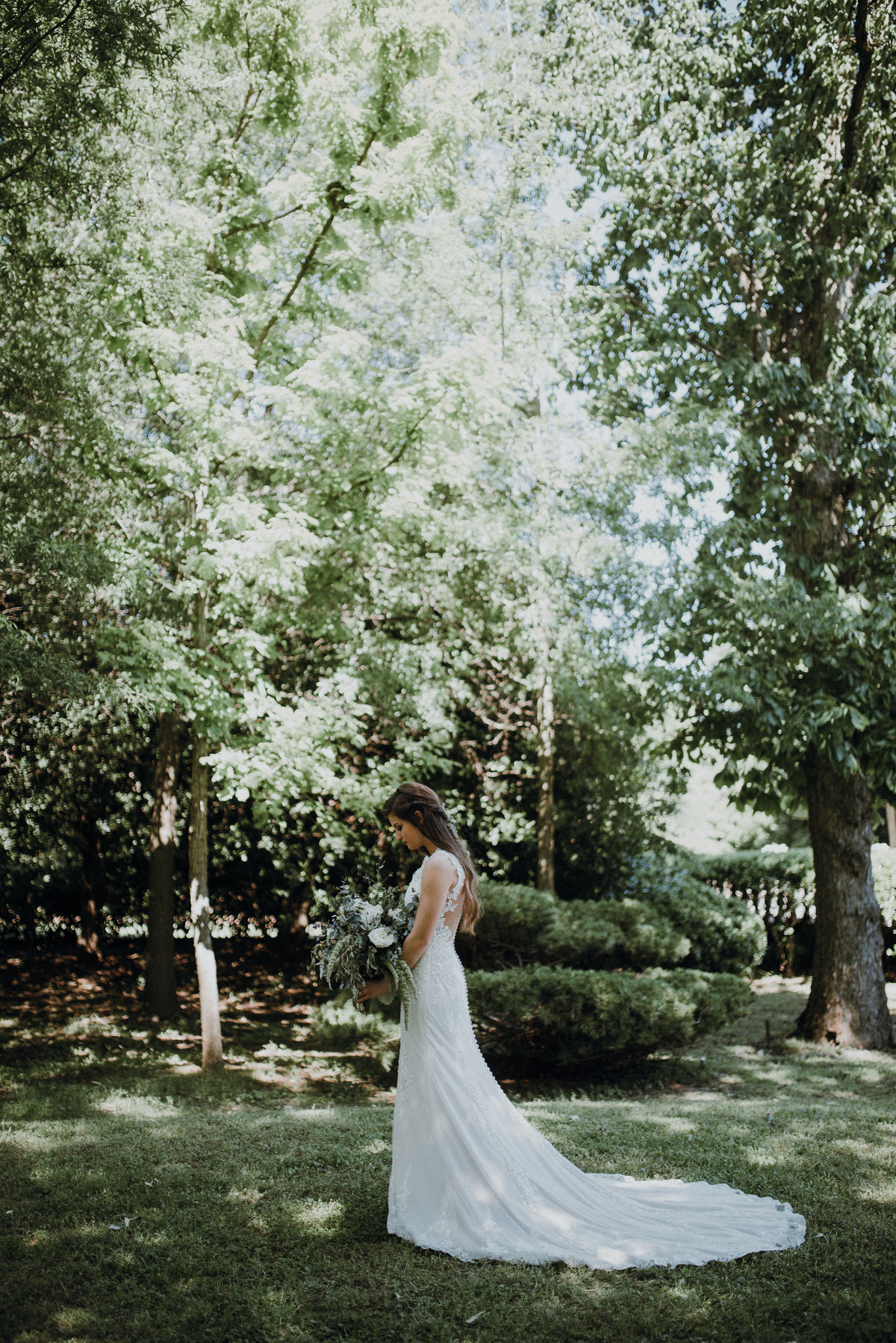 Bride's portrait just before she walks down the aisle at her beautiful Arkansas wedding at Adams Estate