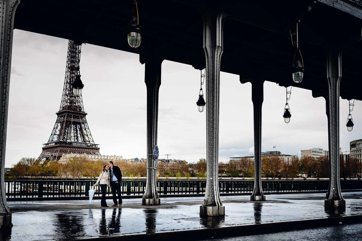 engagement photo at bir hakeim bridge in paris france by stephane lemaire photography