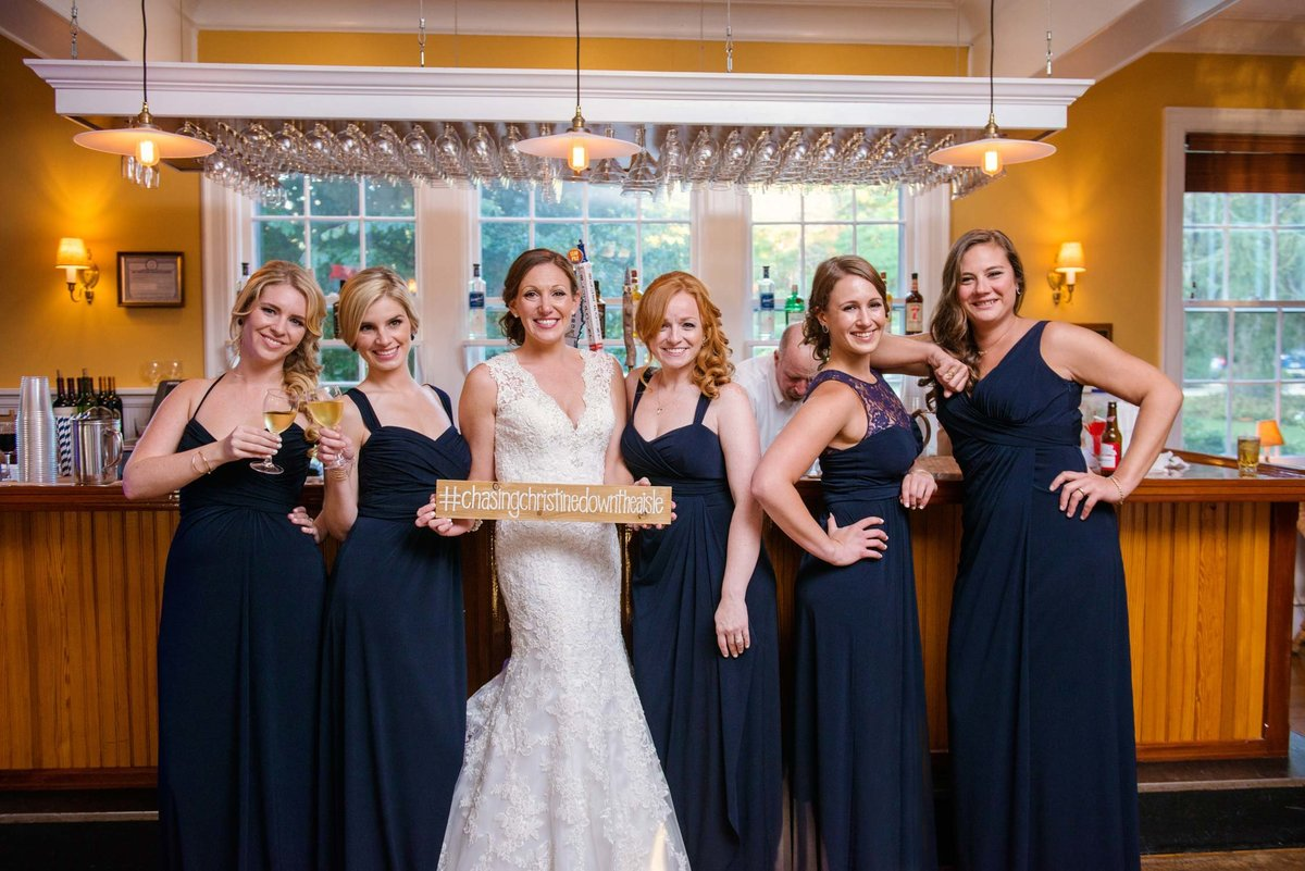 Bride and bridesmaids at The Ram's Head Inn