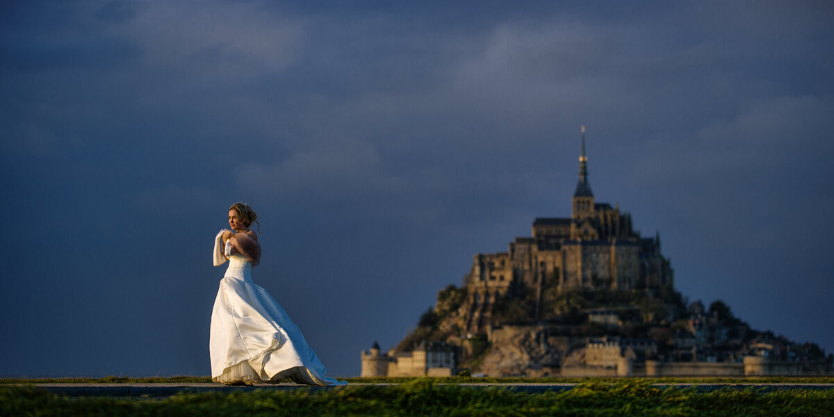 Bride in France on a chilly day