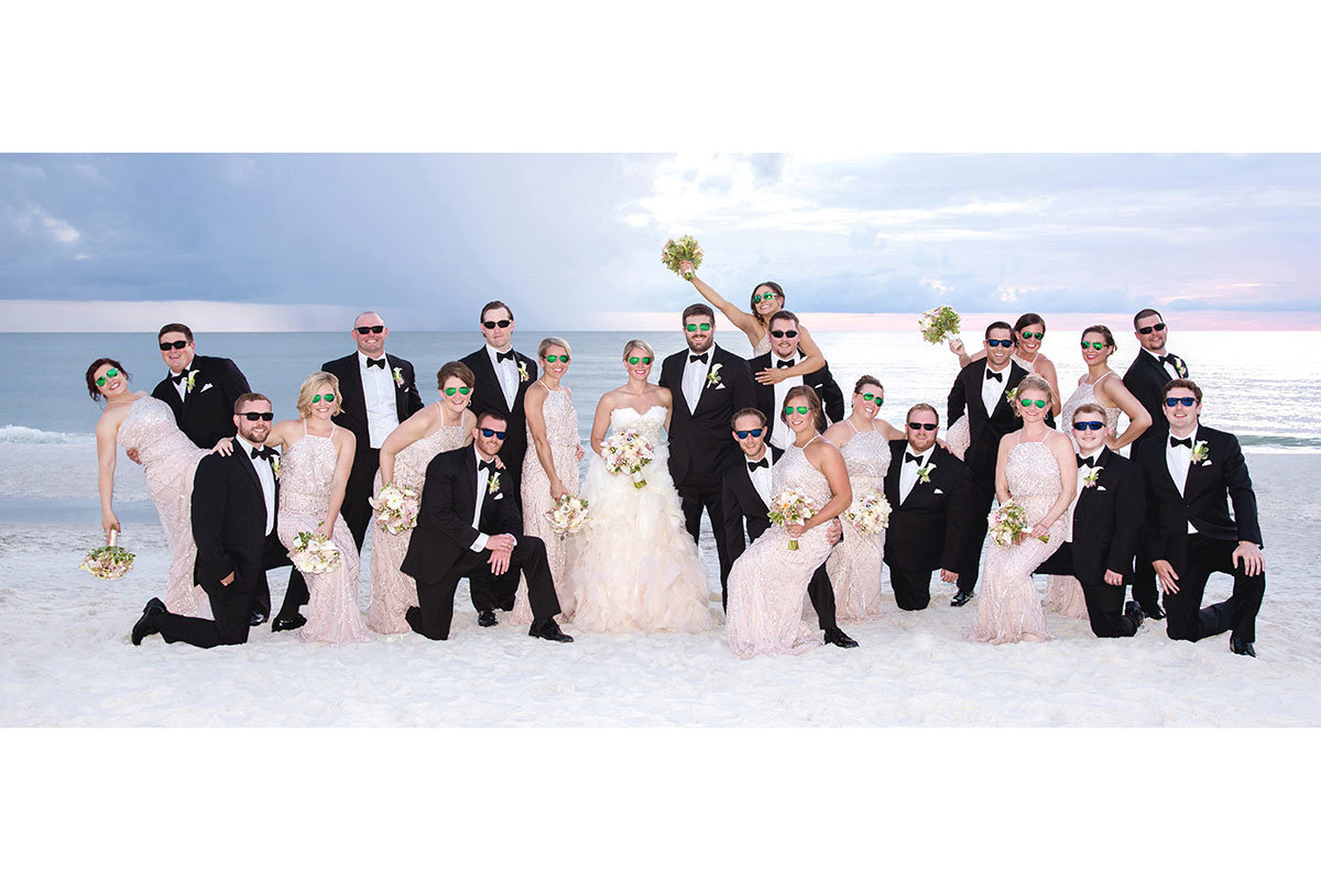 ritz carlton naples florida sunset wedding party