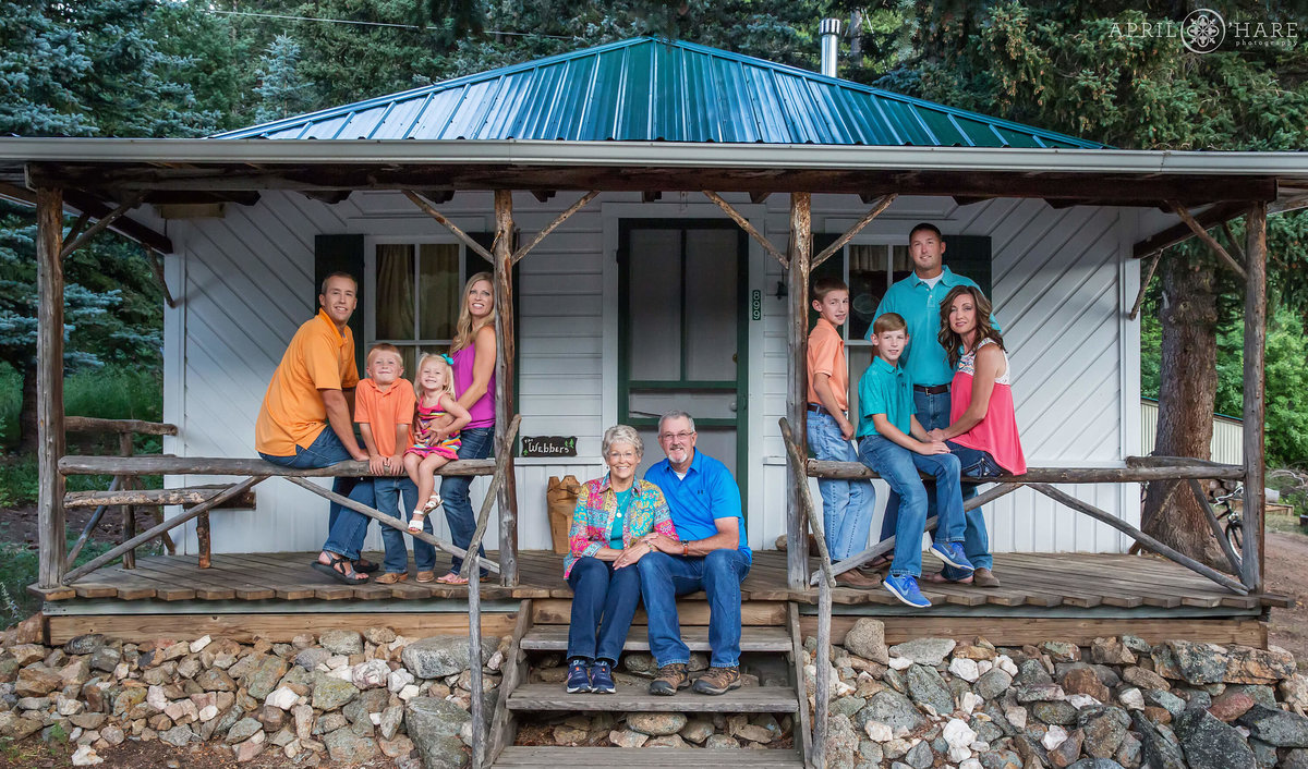 Family Photos at their private mountain cabin in Boulder Colorado