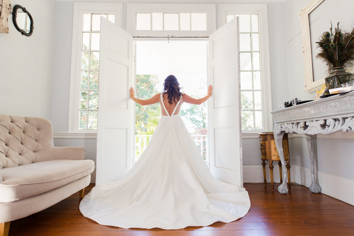 Light and airy bridal portrait at the Hazlehurst House in McDonough Georgia  by Jennifer Marie Studios, Atlanta wedding photographer