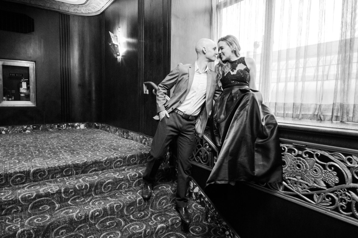 Hilton Hotel engagement portraits by Cincinnati Wedding Photographers of Off the Film Photography create a fun and stress free experience.