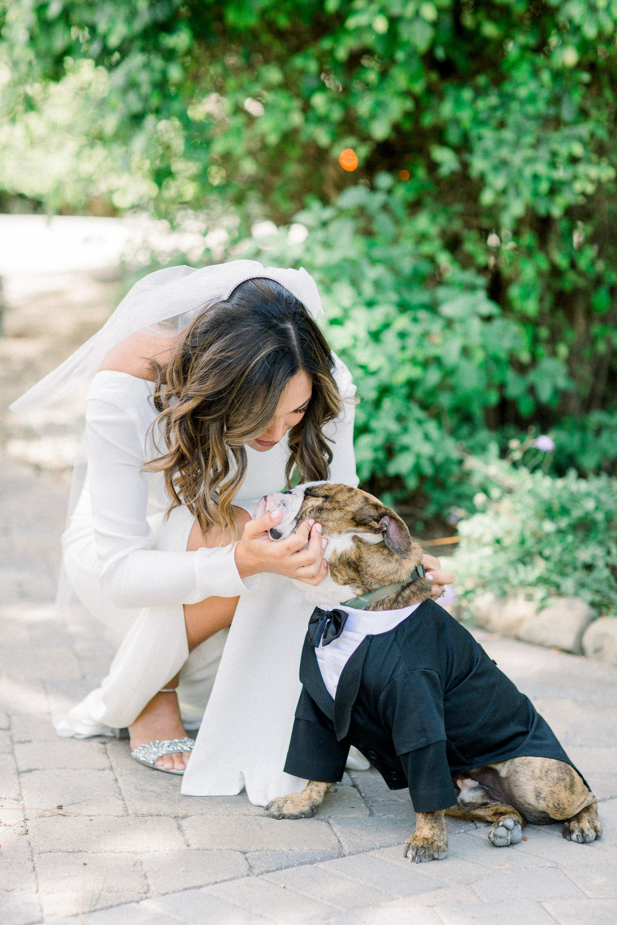 bride in long sleeved wedding dress with ring dog in tuxedo at Maravilla Gardens wedding