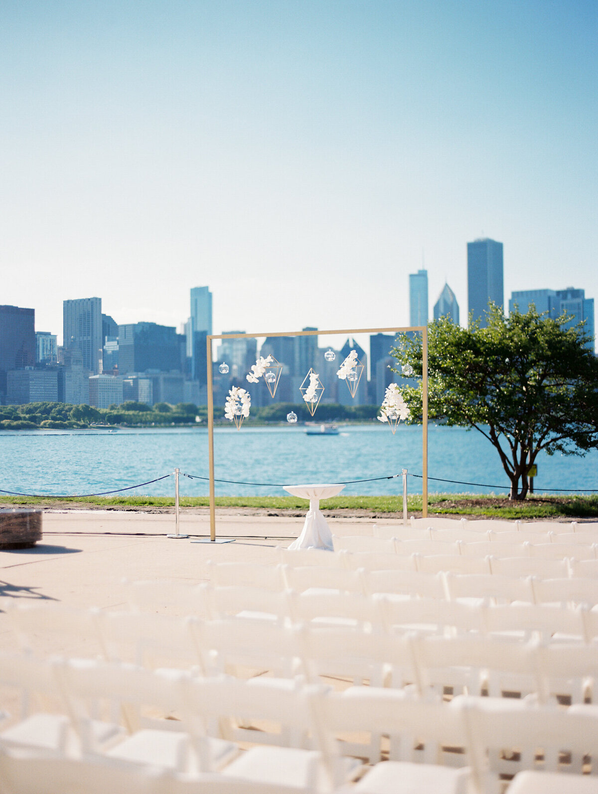 Downtown Chicago wedding ceremony setup