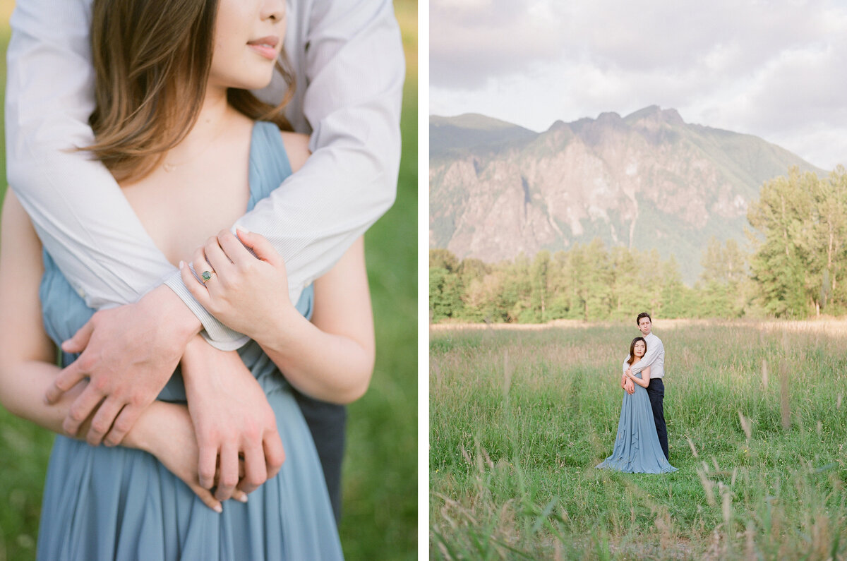 Fine Art Engagement Photography in Seattle - Mountain View Engagement - Film -2