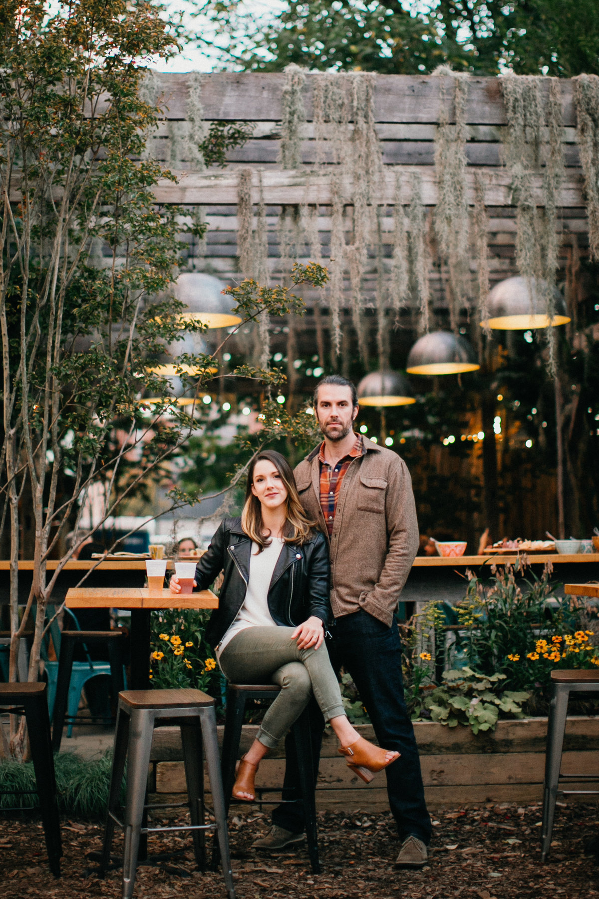 Pop up beer garden engagement shoot in Passyunk, Philadelphia.