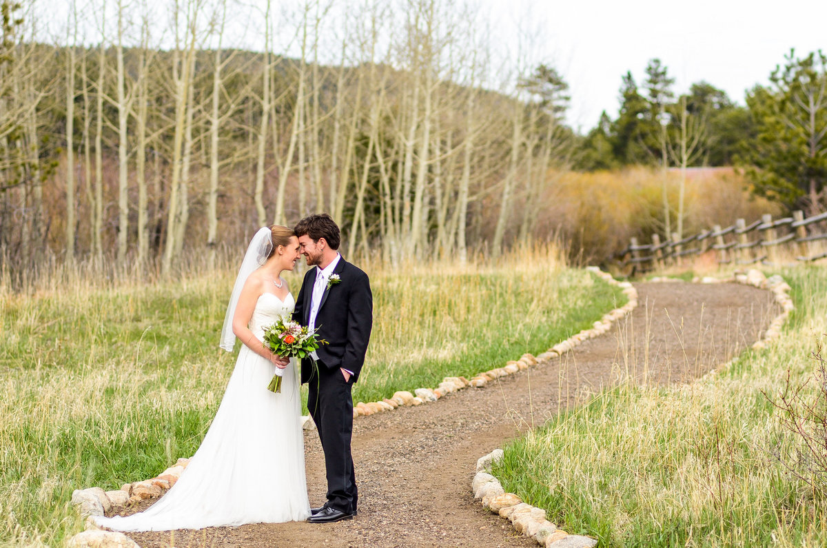portrait of bride and groom in estes park