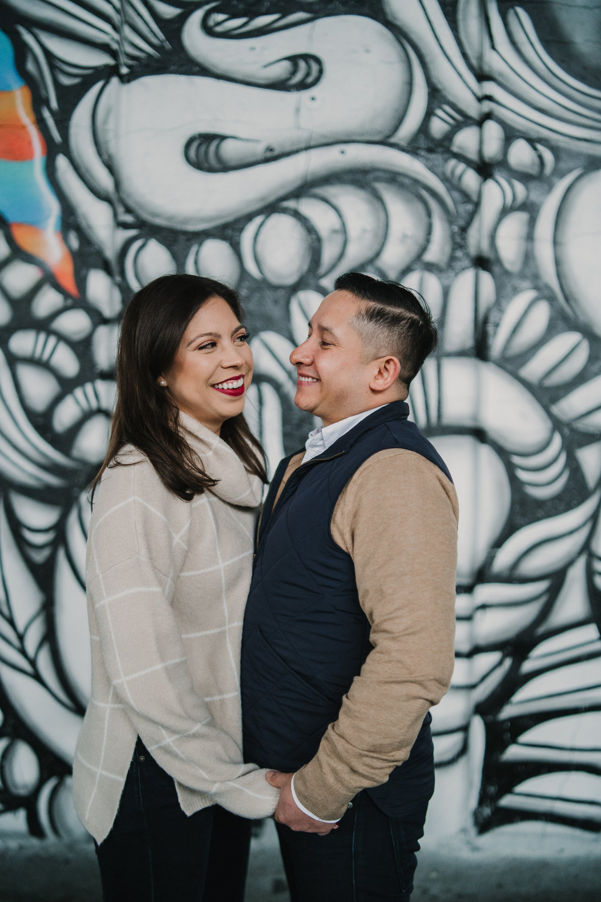 Couple's holiday portrait session downtown San Antonio taken by Expose The Heart Photography