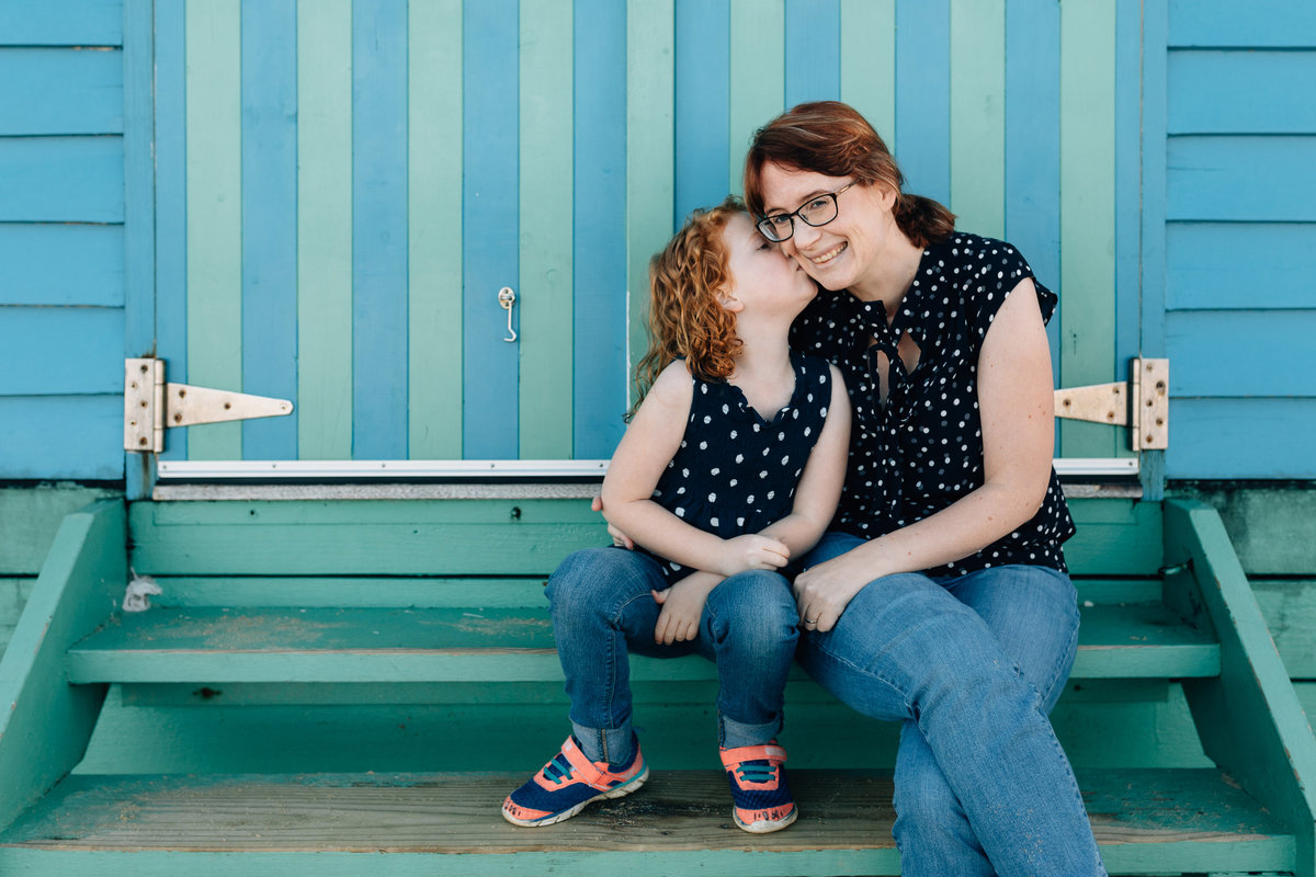 Mum and daughter at beach bathing box Melbourne family photography And So I Don't Forget Photography