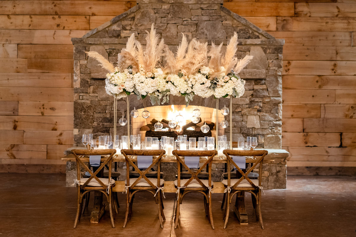 Estate Table with pampas grass