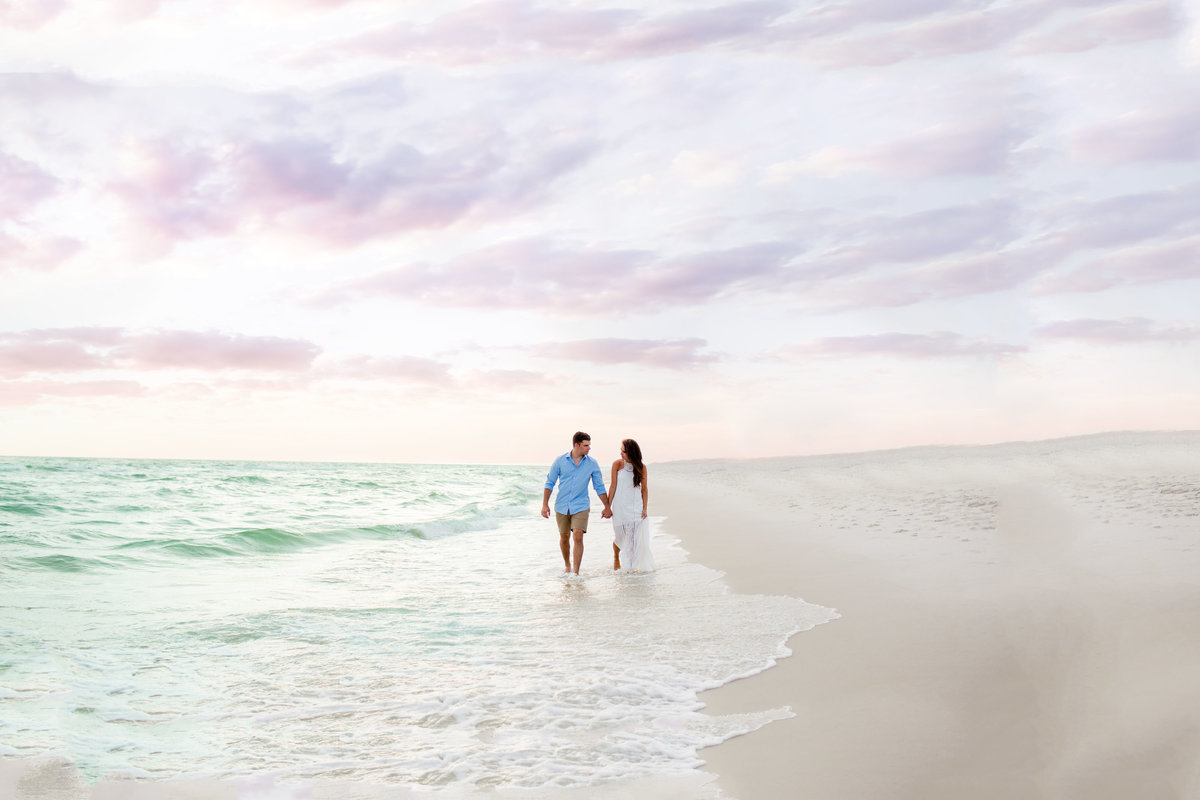 Beach engagement portraits at Rosemary Beach near Destin Florida by Florida Wedding Photographers