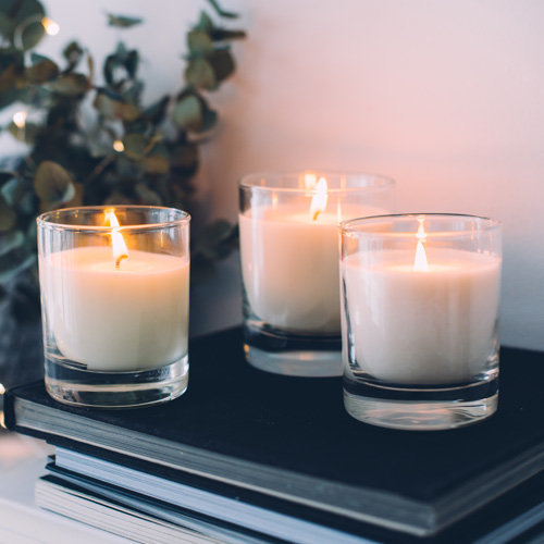trio of lit candles