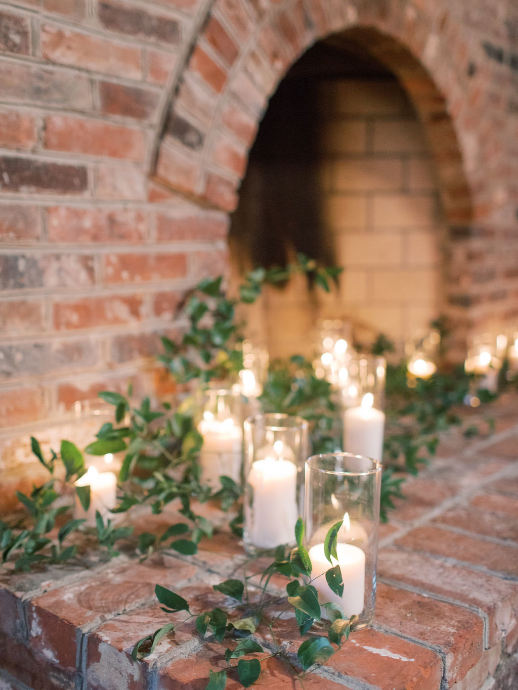 fall wedding candles greenery