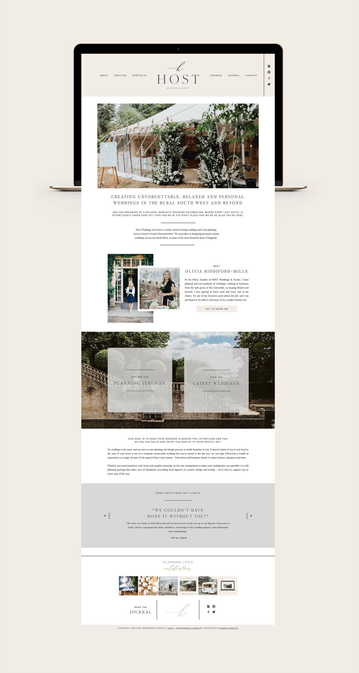 Host Weddings & Events Website Design | Wedding Planner Website Design
