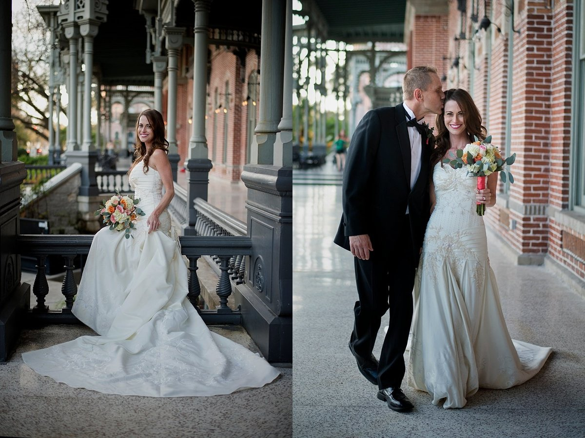Classic Bridal Portraits and Bride with Groom at the Henry Plant Museum in Tampa FL