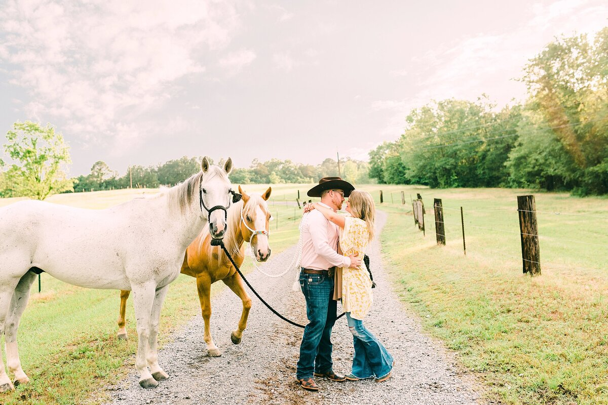 Engagement session with horses in Charlotte