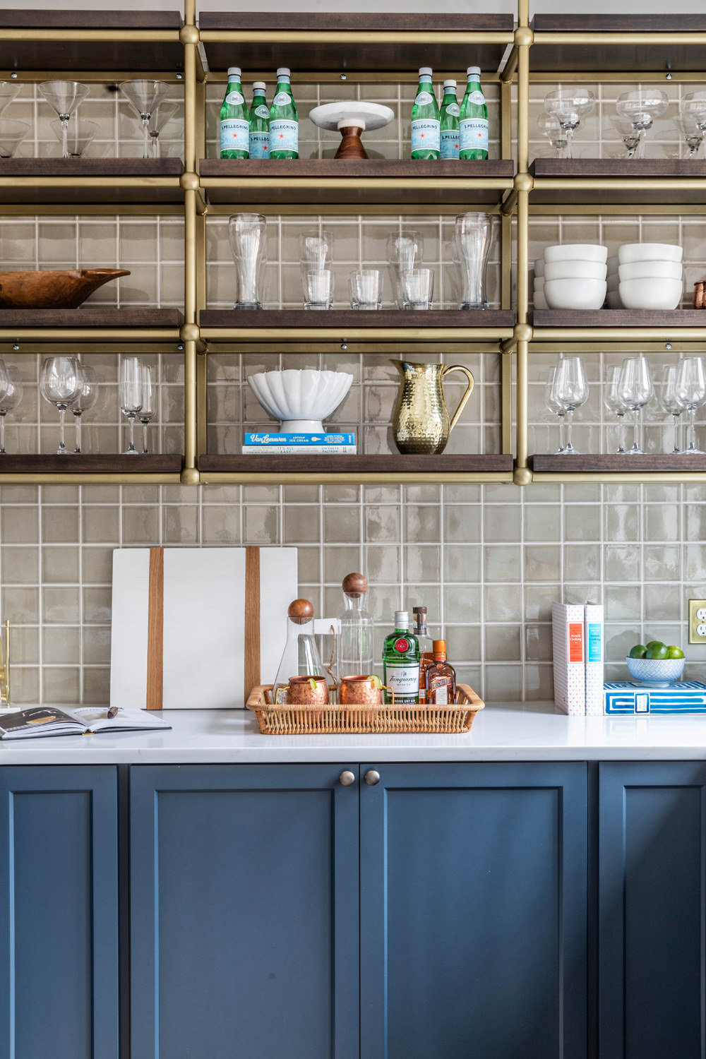 Benjamin-Moore-Blue-Note-Basement-Bar-with-Brass-French-Bistro-Shelving-2