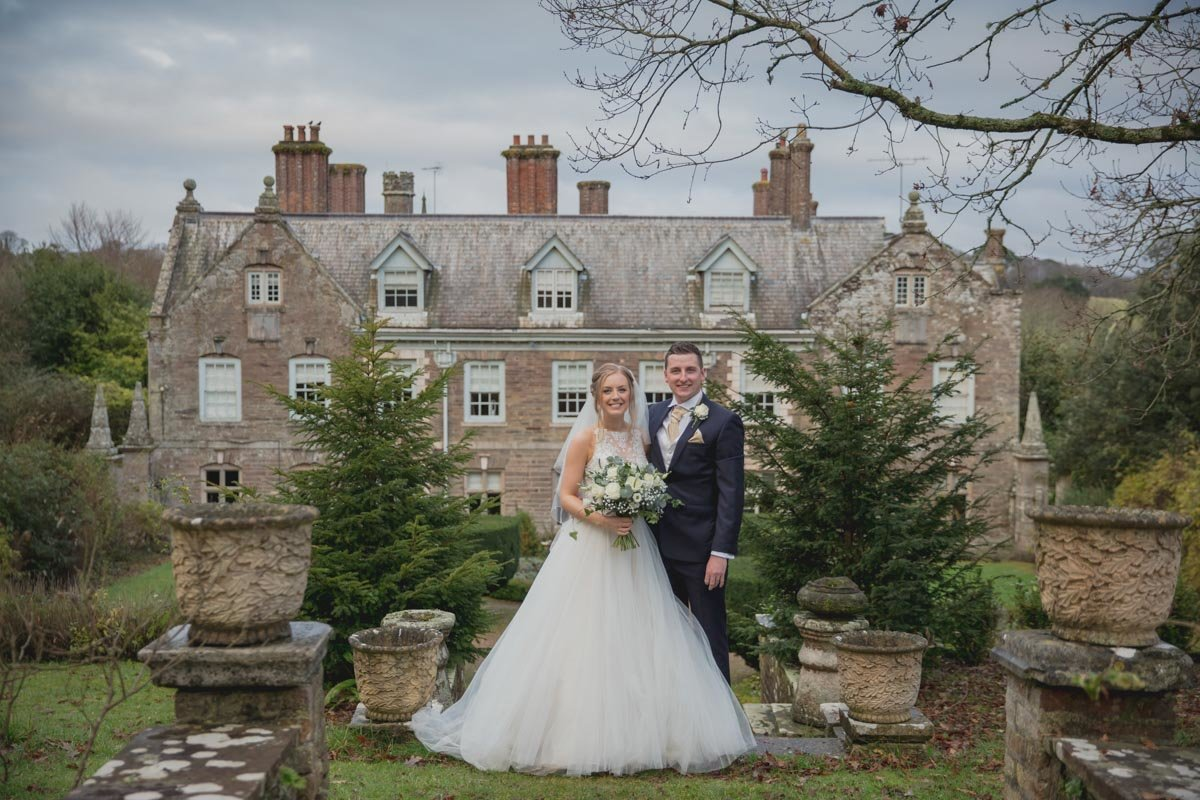 wedding couple at langdon court devon