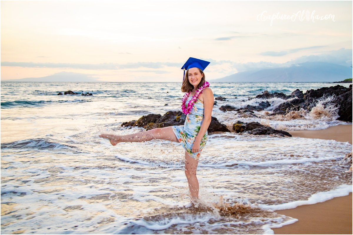 Capture Aloha Photography, Maui Senior Portrait Photography  with beautiful sunset on the beach