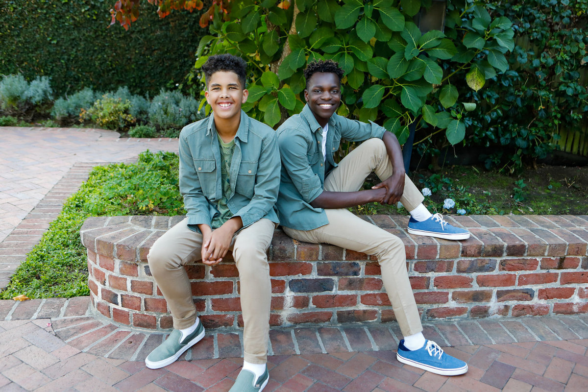 Bay area photoshoot, brothers on brick wall