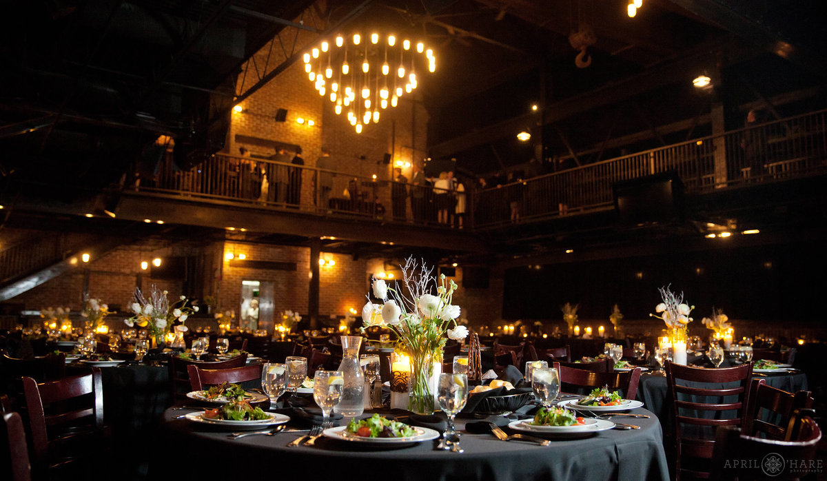Dark Moody Brick Wedding Venue Candlelight Glowing at Mile High Station in Denver Colorado
